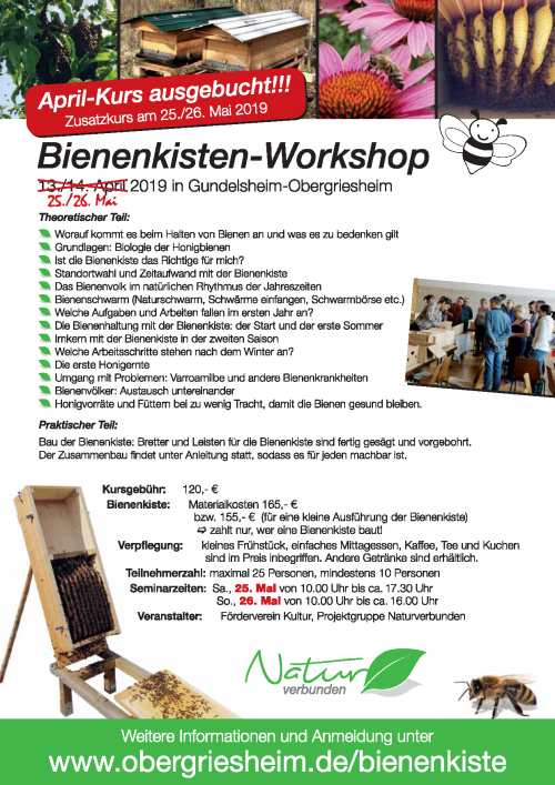 Bienenkisten-Workshop 2019 Plakat